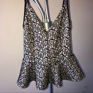 Tops - Webbed patterned peplum tank top w/ bow in back